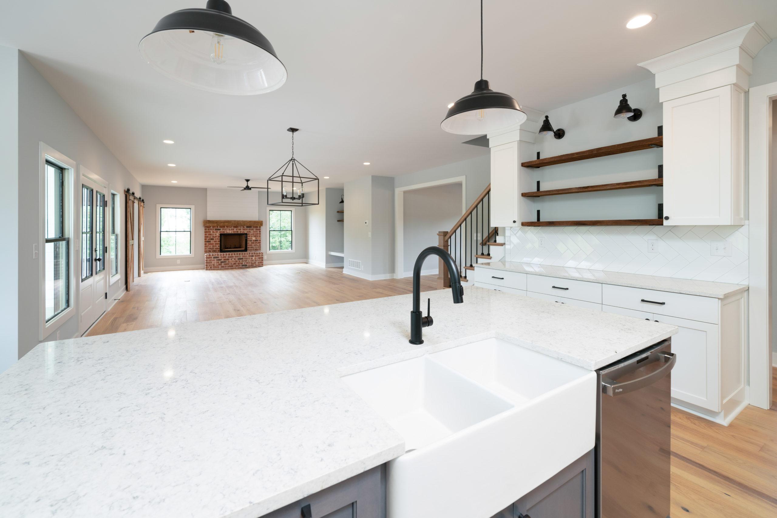 farmhouse sink in custom kitchen island