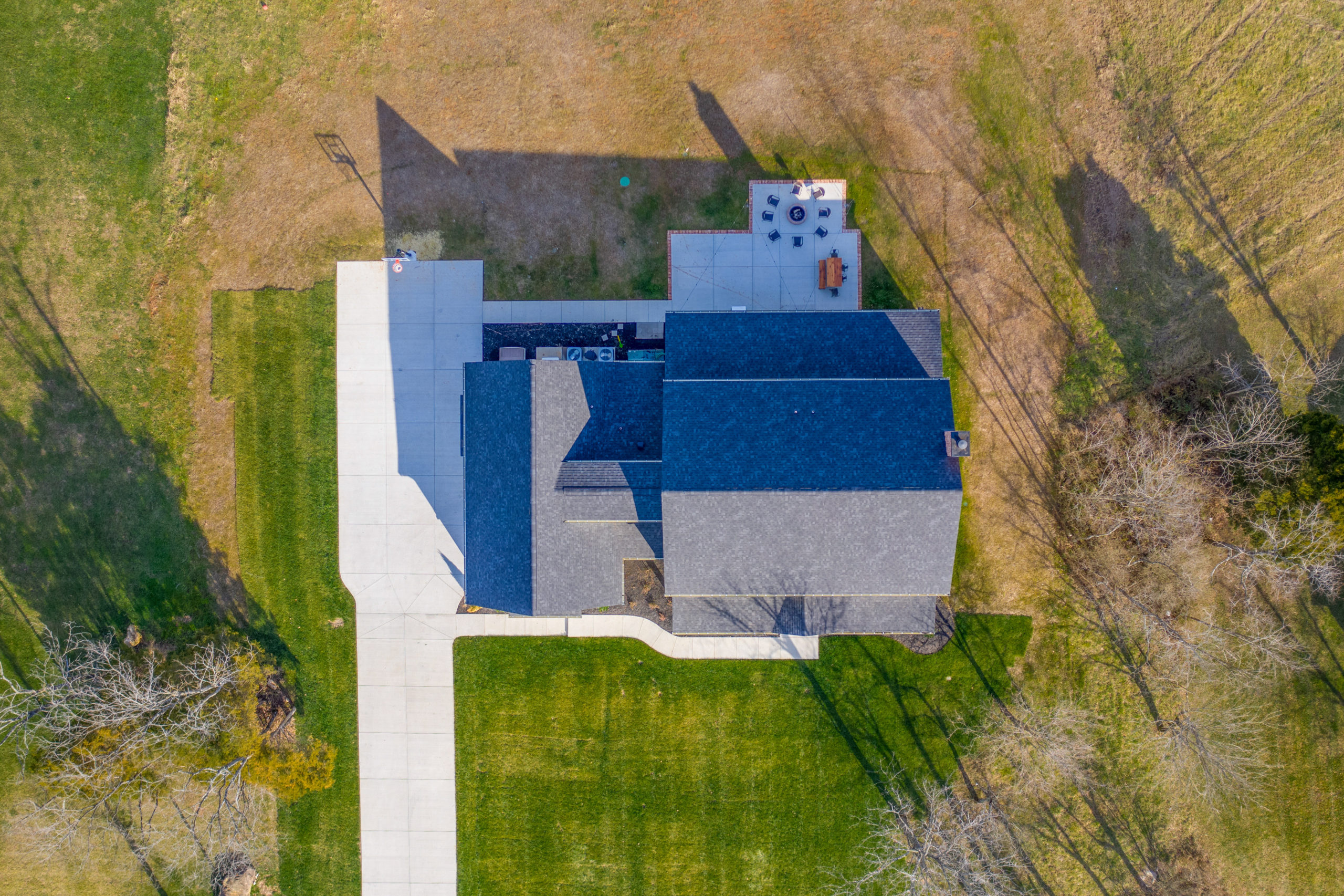 aerial view of custom farmhouse
