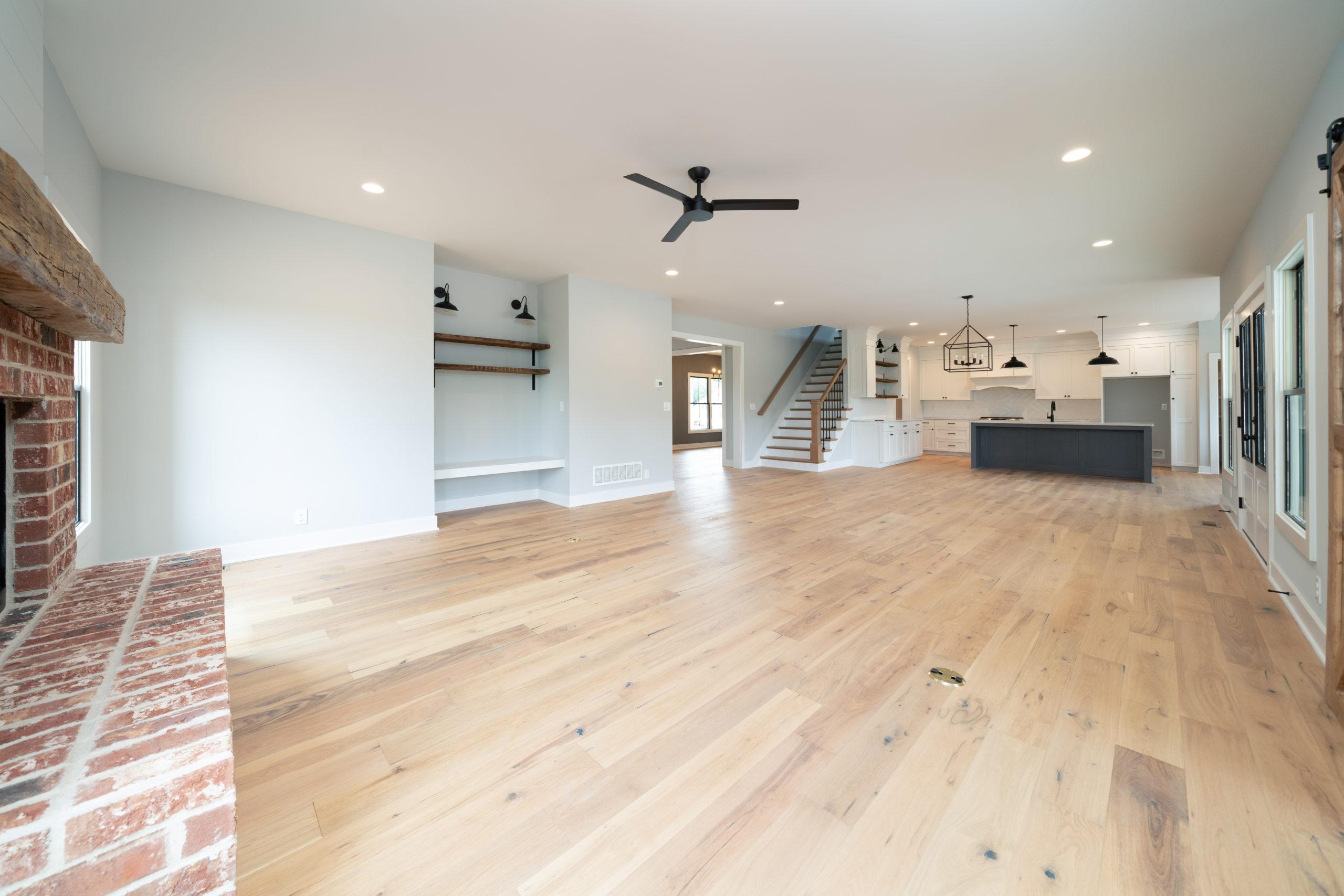 farmhouse living room with light hardwood floors