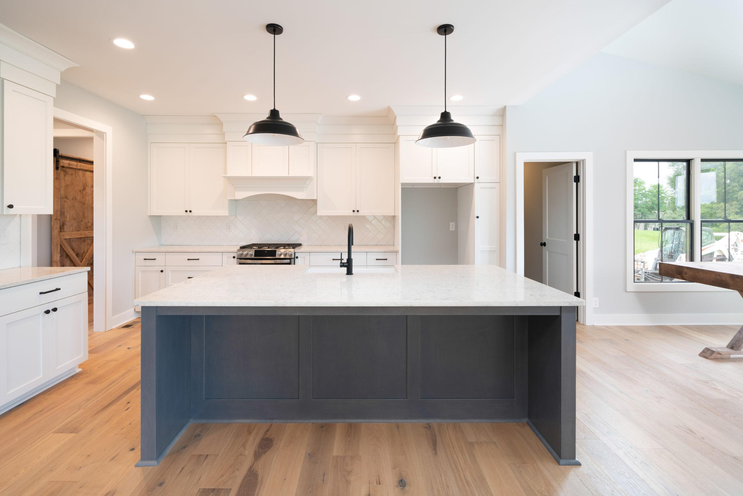 gray and white farmhouse kitchen design