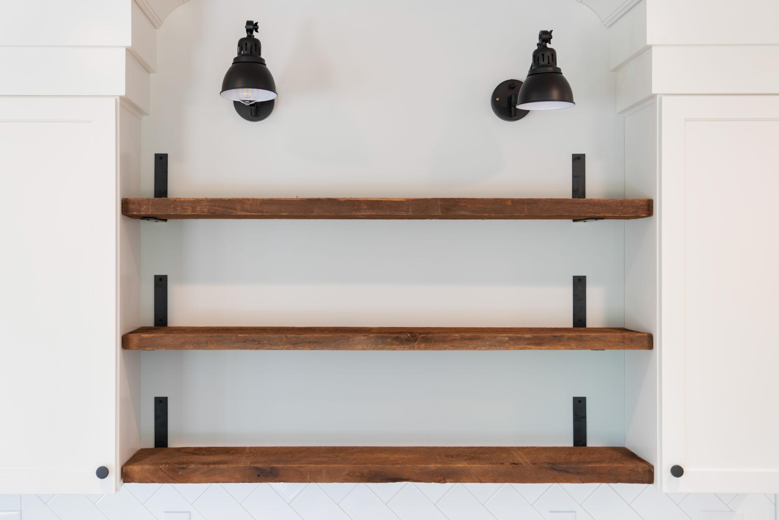 custom open wood shelving in farmhouse kitchen