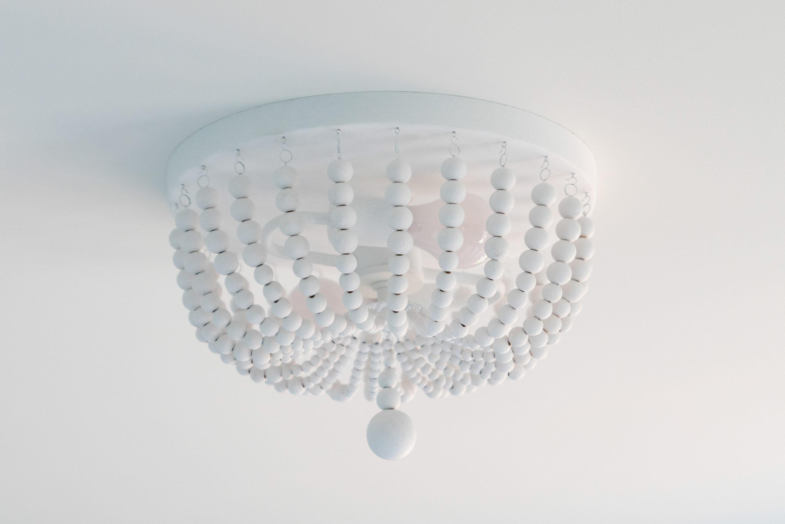 white beaded ceiling light fixture
