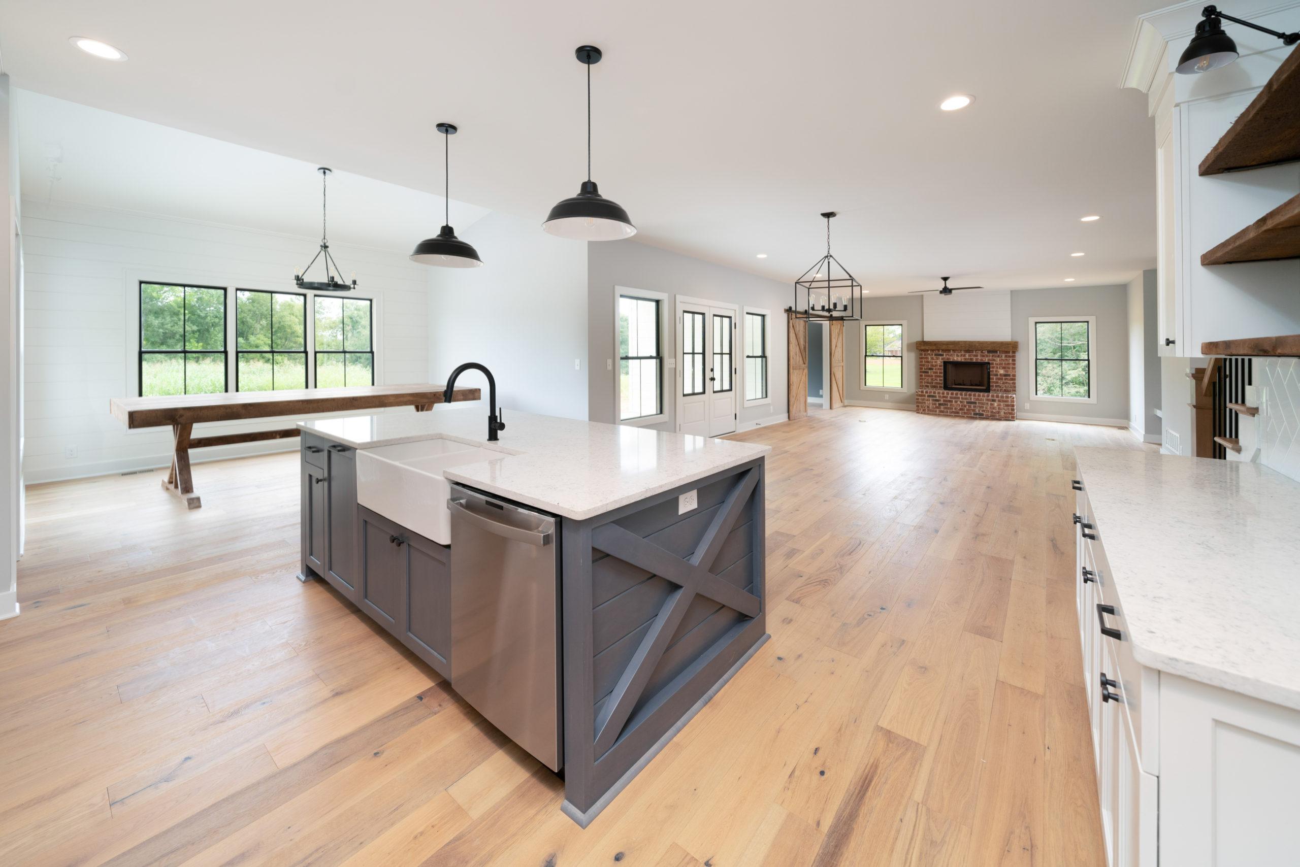 farmhouse style sink on gray kitchen island