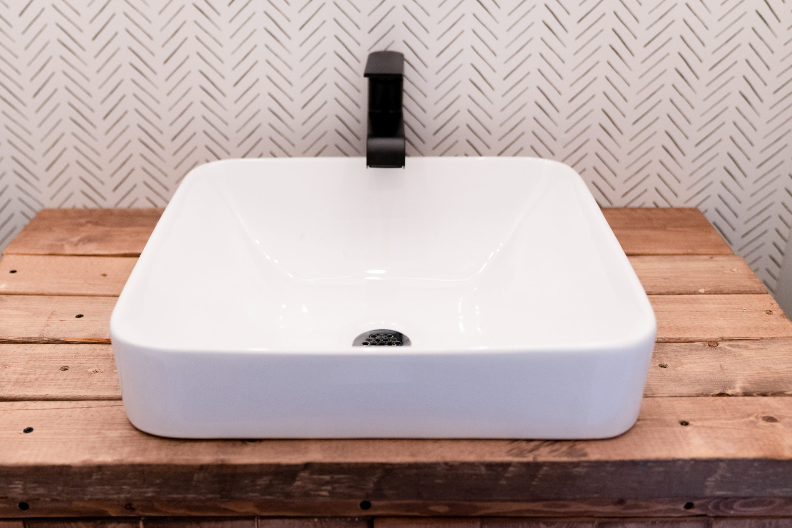 wood farmhouse powder room sink with console sink