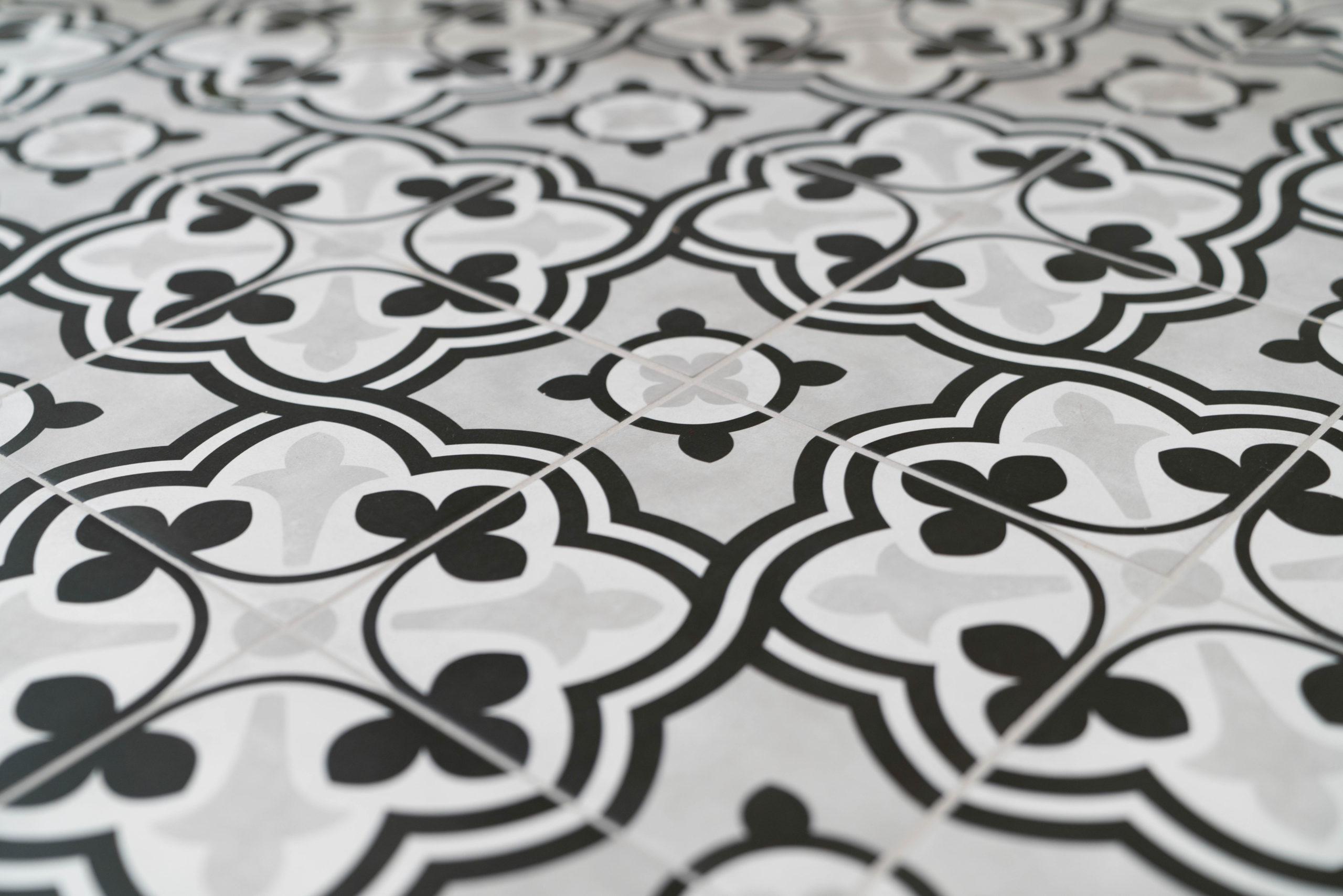 black white and gray floor tile