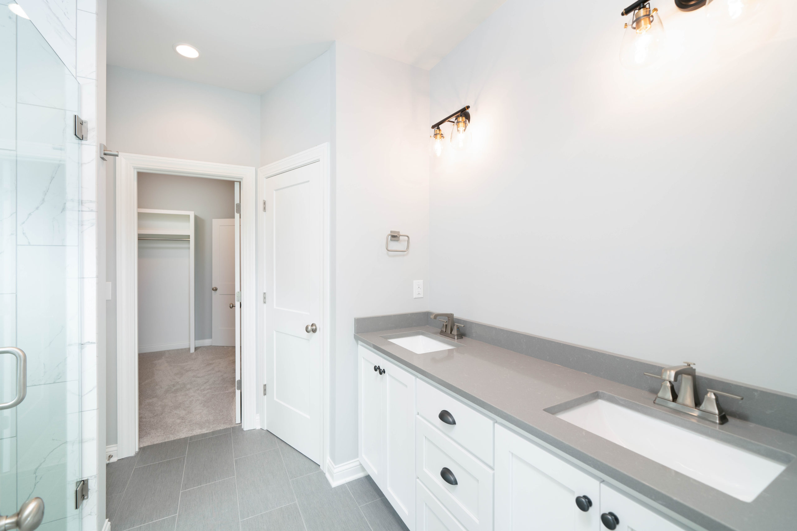 gray and white bathroom vanity