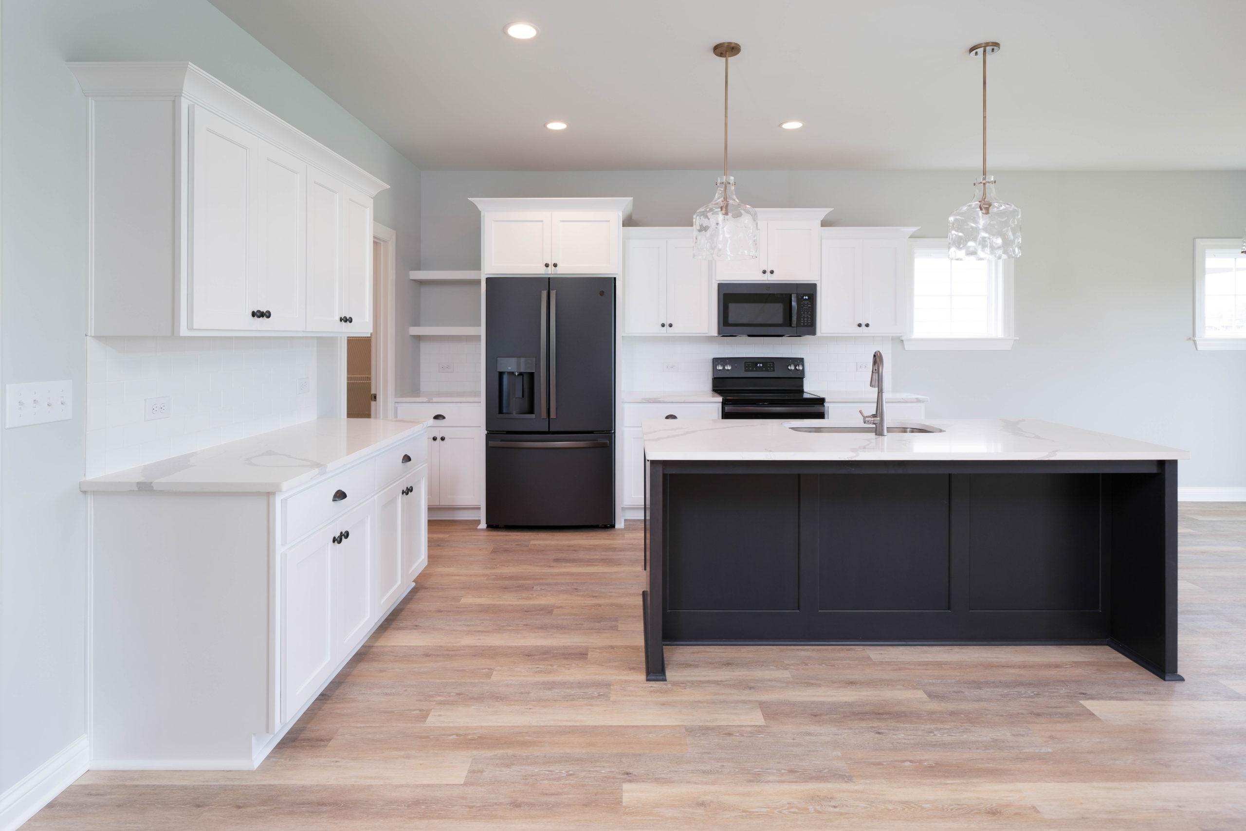 black and white open kitchen design