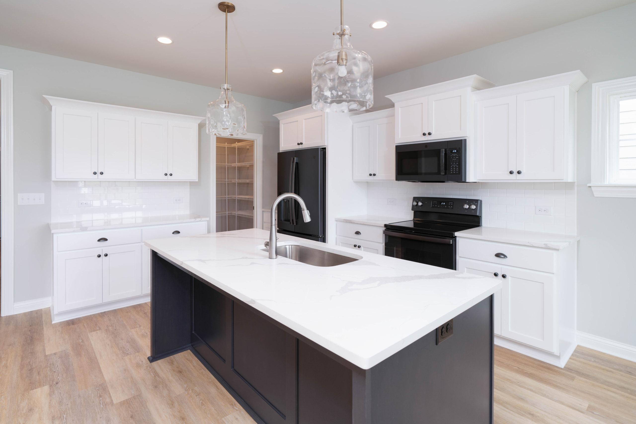 black and white kitchen island